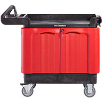 Rubbermaid TradeMaster 2 Door Mobile Cabinet Black & Red