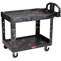 Rubbermaid Medium Lipped Shelf Heavy Utility Cart 115x64x85cm Black