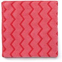 Rubbermaid HYGEN Microfiber Cloth With Zig-zag Scrubbing Strips Red