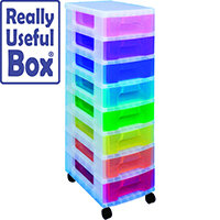 Really Useful Mobile Storage Tower 8x7L Drawers Multi-Coloured Ideal For Use In Homes, Offices, Schools & More. Supplied With Removable Castors For Ease Of Use.