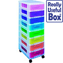 Really Useful Mobile Storage Tower 8x7L Drawers Multi-Colour DT1007