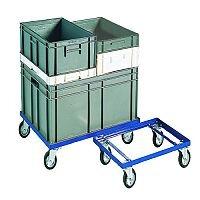Blue 200kg Container Dolly 100mm Rubber Castors Ref 321516