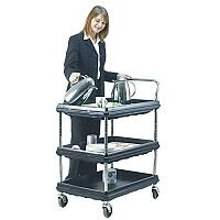 Deep Ledge Trolley PBC2636-3DBL 3-Tier Black 375056