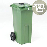 Wheelie Bin 140 Litre with Bottle Bank Aperture and Lid Lock Green  124559