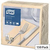Tork Dinner Paper Napkins 2 Ply 8 Fold Tissue 390x390mm Sand Pack 150 477565