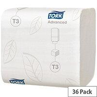 Tork T3 Dispenser Bulk Folded Toilet Paper Tissues 2 Ply White 36 Sleeves 242 Sheets in Sleeve 114271