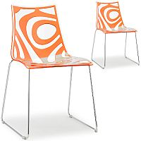 Wave Chrome Sled Base Canteen & Breakout Chair Translucent & Orange Set of 2