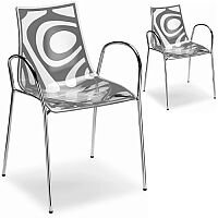 Wave Canteen & Breakout Chrome Leg Chair with Arms Translucent & Anthracite Set of 2