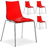 Zebra Antishock Chrome Leg Canteen & Breakout Stacking Chair Translucent Red Set of 4