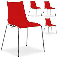 Zebra Antishock Chrome Leg Canteen & Breakout Stacking Chair Glossy Red Set of 4