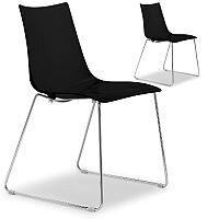 Zebra Antishock Canteen & Breakout Chrome Sled Frame Chair Glossy Black Set of 2