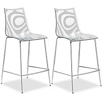 Wave Bar Stool With H650mm Chrome Base Translucent & Linen White Set of 2