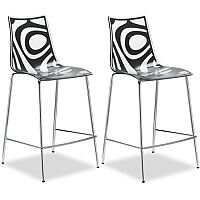 Wave Bar Stool With H650mm Chrome Base Translucent & Anthracite Set of 2