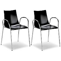 Zebra Antishock Canteen & Breakout Chrome Leg Chair With Arms Glossy Black Set of 2