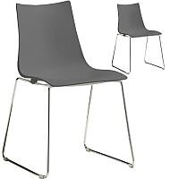 Zebra Technopolymer Chrome Sled Base Canteen & Breakout Chair Anthracite Set of 2