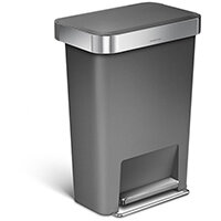 Simplehuman Rectangular Plastic Bin 45L Pedal Operated Grey With Liner Pocket CW1386CB