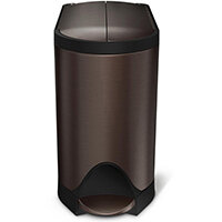 Simplehuman Slim Design Steel Bin 10L Pedal Operated Dark Bronze Steel With Butterfly Lid CW2043