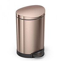 Simplehuman Semi-Round Steel Bin 6L Pedal Operated Rose Gold Steel CW2057