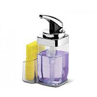 Simplehuman Push Soap Pump Square Dispenser With Caddy 650ml Chrome KT1159