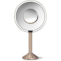 Simplehuman Free Standing Sensor Mirror PRO Dia. 20cm 5x Magnification & 10x Magnification Detail Mirror Rose Gold Steel Rechargeable, Wi-fi Enabled ST3011