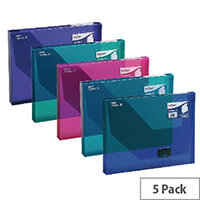 A4 Box File Assorted Plastic Push Lock 25mm Spine Pack 5 Snopake