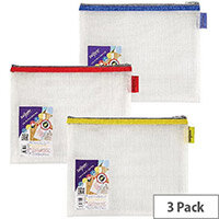 Snopake EVA Mesh Zippa-Bag 207 x 257mm Assorted Pack of 3 15818