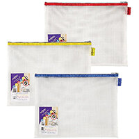 Snopake EVA Mesh Zippa-Bag 277 x 362mm Assorted Pack of 3 15819