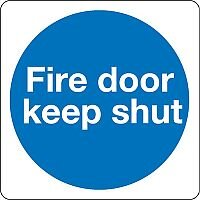Safety Sign Fire Door Keep Shut 100x100mm Self-Adhesive Pack 5 KM14AS