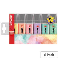 STABILO BOSS Original Highlighters Assorted Pastel Colours Pack of 6 Refillable Highlighters. Anti-Dry-Out Technology For Up To 4 Hours Cap-Off-Time. 2 Thicknesses In 1 Tip (2mm & 5mm). Ideal For Schools, Colleges, Offices, Homes & More.