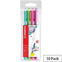 Stabilo Boss Highlighter Pink Pack of 10 FOC Fibre Tip Pen Pack of 4 SS811676