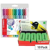 Stabilo Boss Highlighter Green Pack of 10 FOC Fibre Tip Pen Pack of 4 SS811677