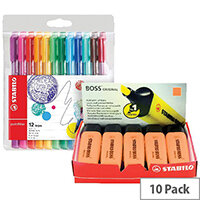 Stabilo Boss Highlighter Orange Pack of 10 FOC Fibre Tip Pen Pack of 4 SS811678