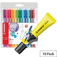 Stabilo Boss Highlighter Neon Yellow Pack of 10 FOC Fibre Tip Pen Pack of 4 SS811680