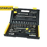 Stanley 50 Piece Metric Socket Set 1/4 & 1/2 in Drive