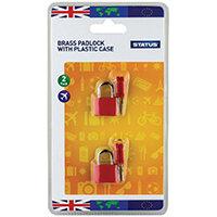 Status Brass Travel Padlock with Key Pack of 5 SPCPLOCK2PK5