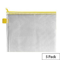 Zip Pouch Yellow Reinforced Mesh Weave PVC Clear 255 x 205mm Pack 5