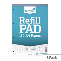 Silvine Refill Pad A4 Punched 4-Hole Head Bound 80 Leaf Ruled Narrow Feint and Margin Pack of 6 A4RPNM