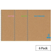 Silvine Premium Recycled Kraft Twin Wire A5 Notebook 80 Pages KRTWA5AC Pack of 6