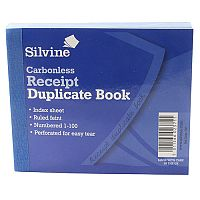 Silvine Carbonless Duplicate Receipt Book 4.125x5 inches Pack of 12