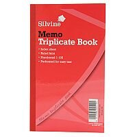 "Silvine Red Triplicate 8x5"" Memo Book Pack of 6"