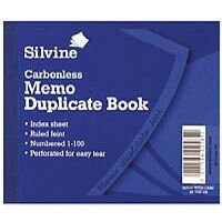 Silvine Carbonless Duplicate Memo Book Pack of 12 703-T