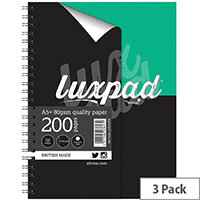 Silvine Luxpad Printed Hardback Wirebound Notebook 200 Pages A5+ Pack of 3 LUXA5FM