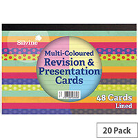 Silvine 48 Revision Notecard Pad Lined Multi-Coloured Pack of 20 CR51