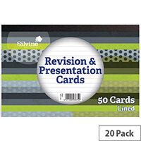 Silvine 50 Revision Notecard Pad Lined White Pack of 20 CR50