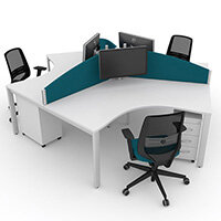 Switch 120 Degree 3 Person Bench Desk With Privacy Screens, Matching Under-Desk Pedestals & Chairs W1600mm