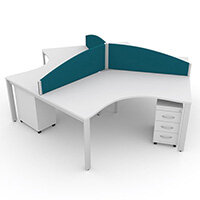 Switch 120 Degree 3 Person Bench Desk With Privacy Screens & Matching Under-Desk Pedestals W1600mm