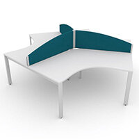 Switch 120 Degree 3 Person Bench Desk With Privacy Screens W1600mm
