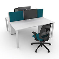 Switch 2 Person Bench Desk With Privacy Screens, Matching Under-Desk Pedestals & Chairs W 1600mm x D 2x700mm