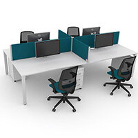 Switch 4 Person Bench Desk With Privacy Screens, Matching Under-Desk Pedestals & Chairs W 2x1600mm x D 2x800mm