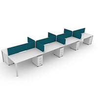 Switch 8 Person Bench Desk With Privacy Screens & Matching Under-Desk Pedestals  W 4x 1200mm x D 2x700mm